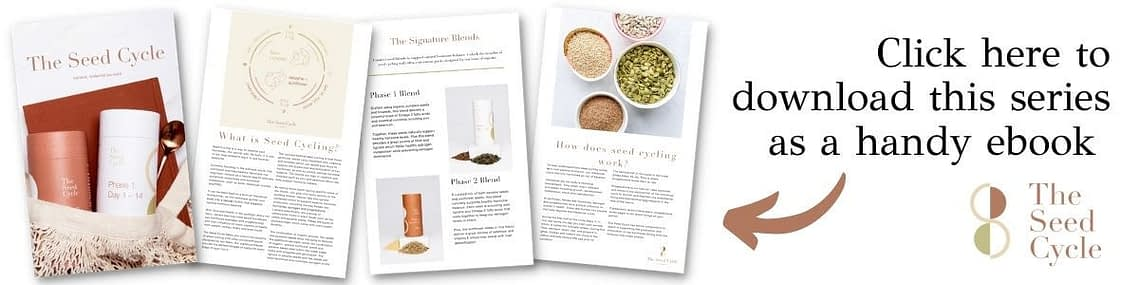 """Four pages of The Seed Cycle Ebook are laid out overlapping each other at the corners. There is an arrow pointing to the pages with text that reads """"Click here to download this series as a handy ebook"""" and The Seed Cycle logo is in the corner."""